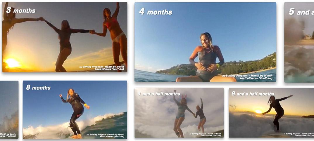 スゴすぎる!妊婦さんの2ヶ月から出産目前までのサーフィン動画。