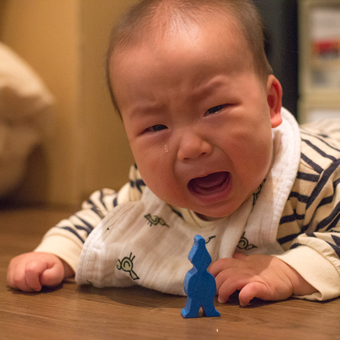 この目の前のおもちゃが取れない!ハイハイできずに号泣。