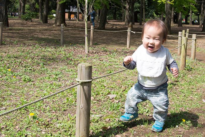 渋谷・代々木公園にて。鼓太郎歩く練習。