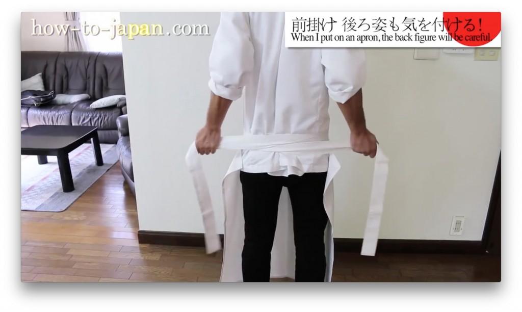 寿司職人の前掛けの結び方