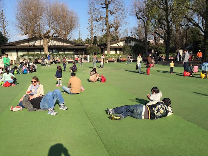 にこにこパークの人工芝で寝転ぶ人たち