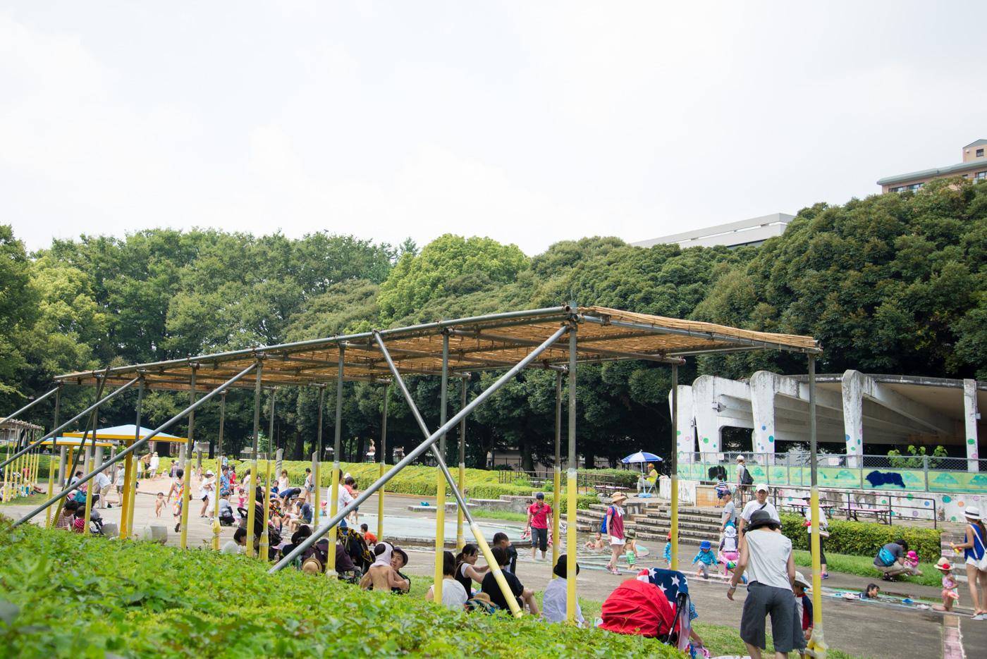 ジャブジャブ池の日陰スポット。お弁当を食べたり(駒沢オリンピック公園)