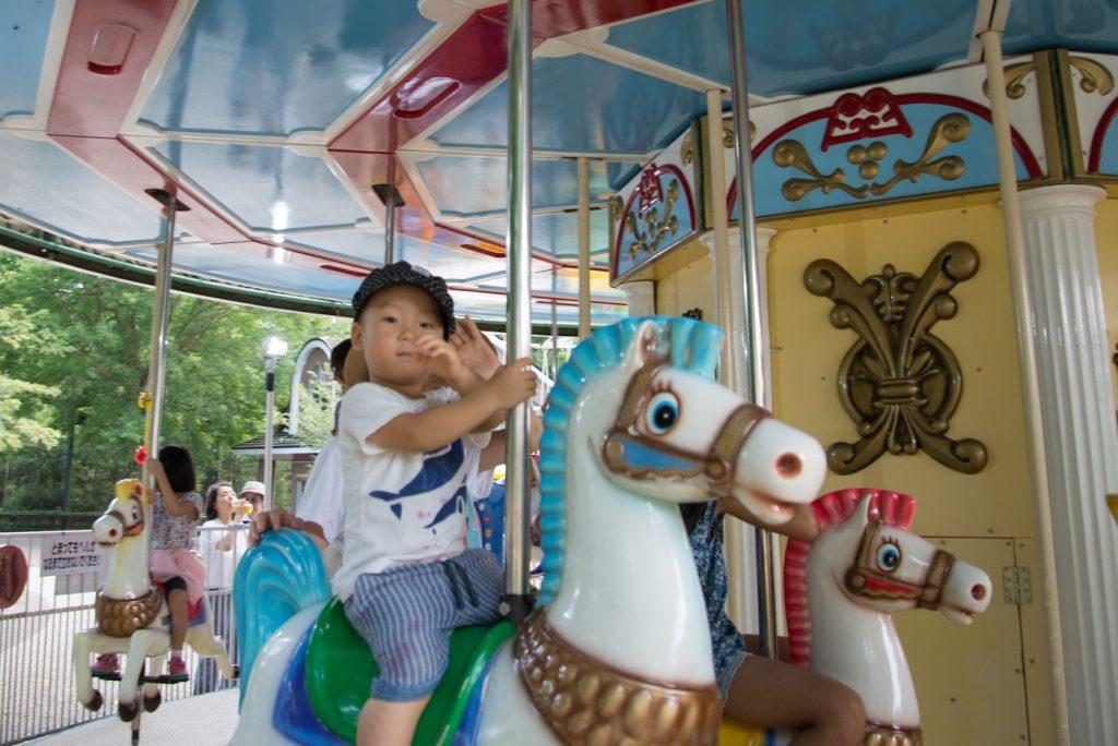 メリーゴーランドに乗る鼓太郎(井の頭公園の動物園 / 東京・吉祥寺)