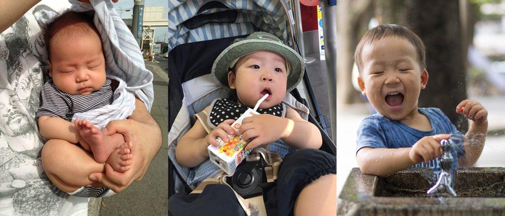 (左)0歳、まるでセカンドバック (中央)1歳、ベビーカーでお出かけ (右)2歳、好き放題走ります