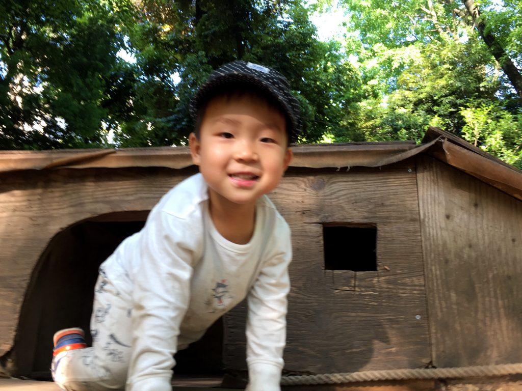 平日の世田谷公園で遊ぶ息子