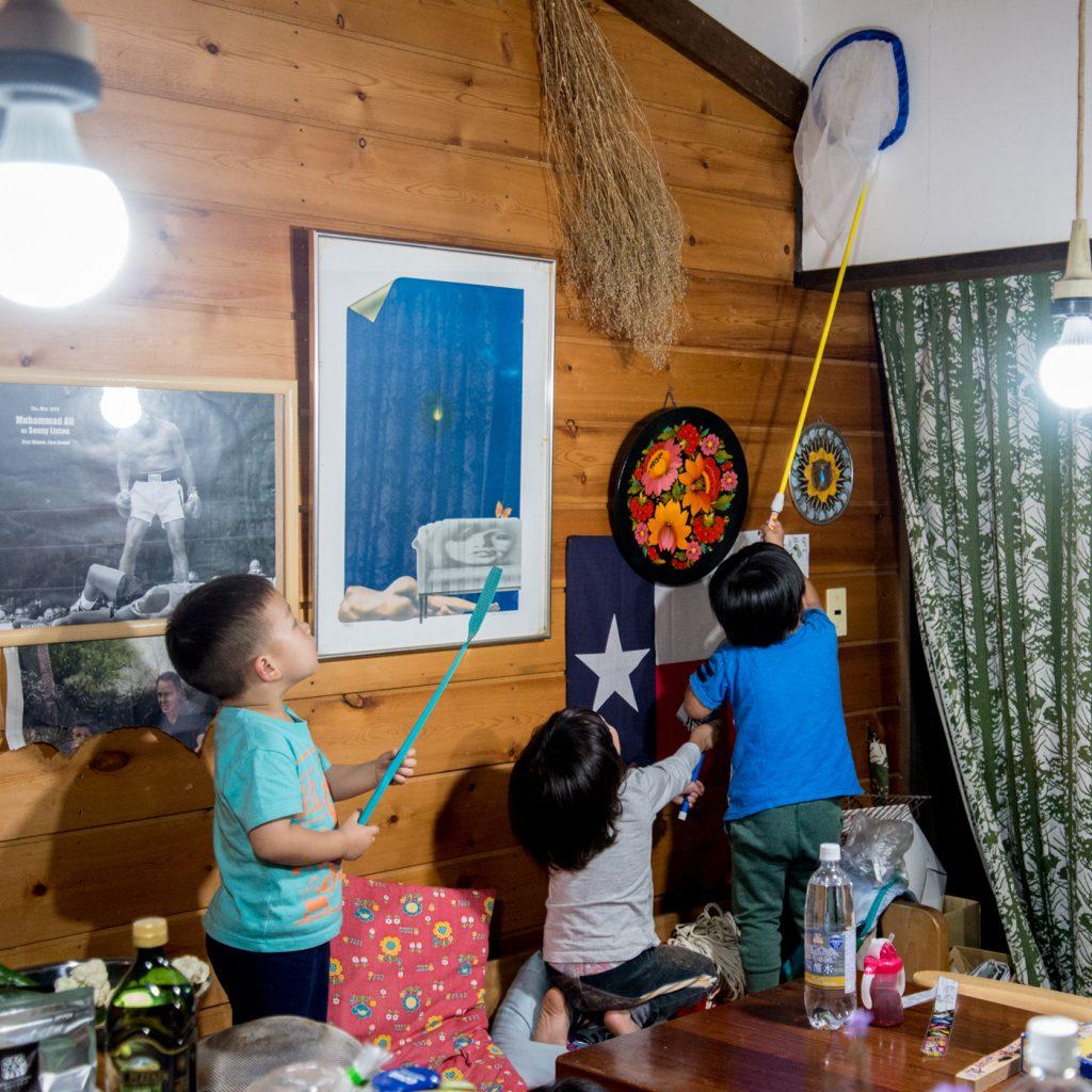 男の子3人で、家の中に入ってきた蚊を虫取り網で捕まえる