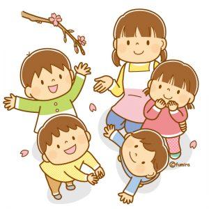 4月、桜を見る子供達と先生