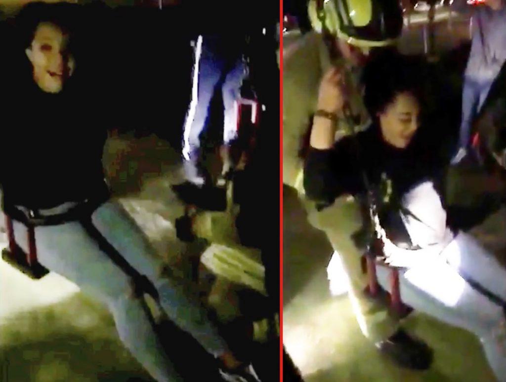 幼児用ブランコに入って、足が抜けなくなり、救急隊に救出される