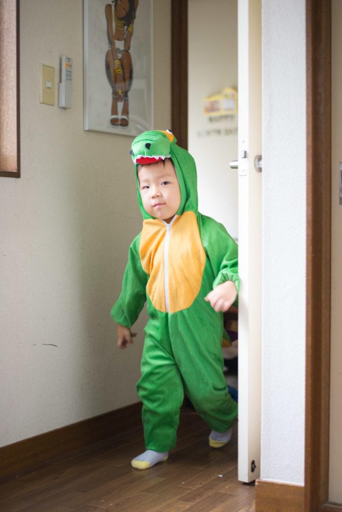 恐竜の着ぐるみを着る息子(3歳)