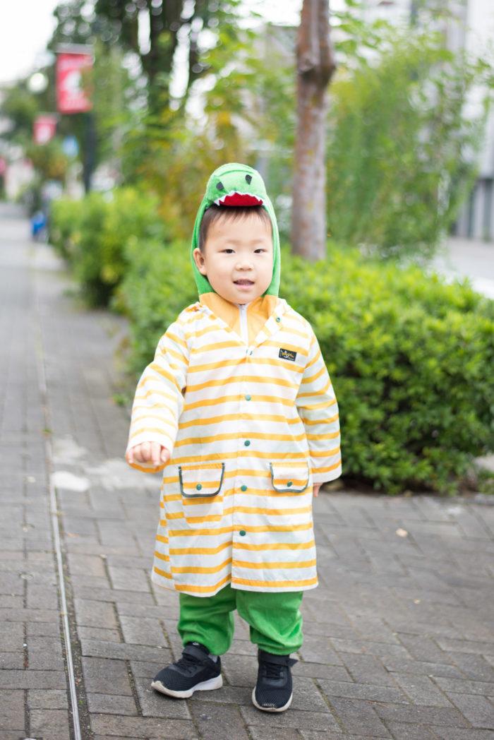 恐竜の着ぐるみを着て、さらにカッパを着る息子