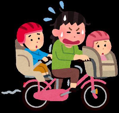 2人の子どもを自転車に乗せて一生懸命こぐお母さん