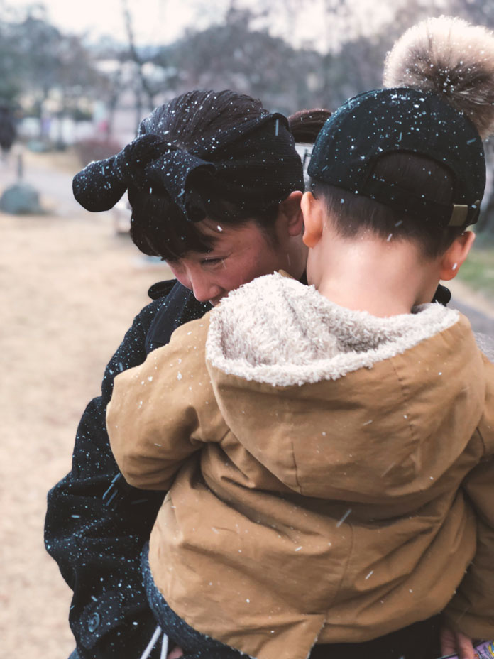 京都梅小路公園で吹雪