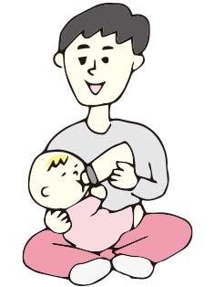 赤ちゃんに哺乳瓶でミルクをあげているパパ