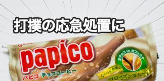 パピコの商品画像と「打撲の応急処置に活躍した」のメッセージ