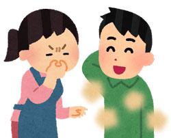 夫の体臭の臭さに、嫌な顔で鼻をつまむ妻