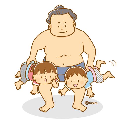 子どもたちと相撲