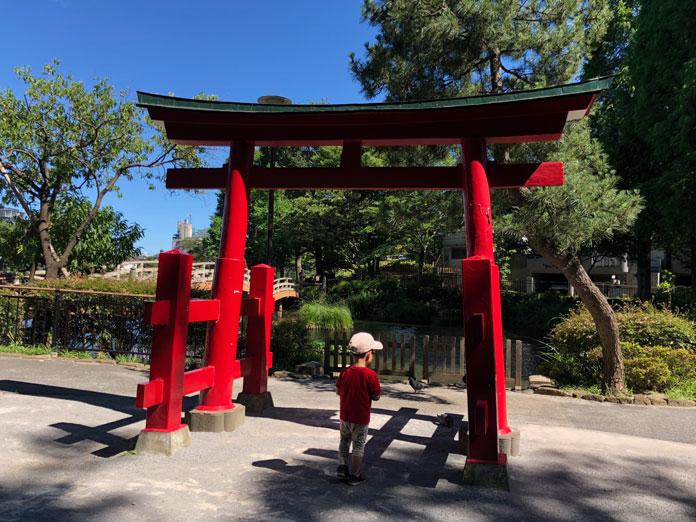 赤い神社の鳥居と息子と洗足池