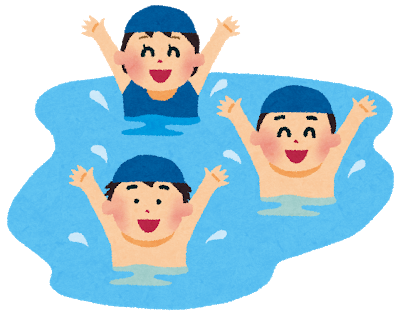 プールで楽しそうに頑張る子ども達