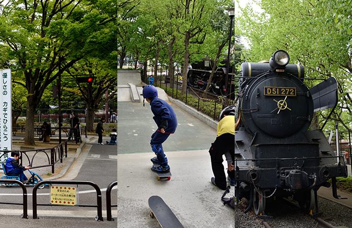 世田谷公園の遊具、スケボー用のランプなど