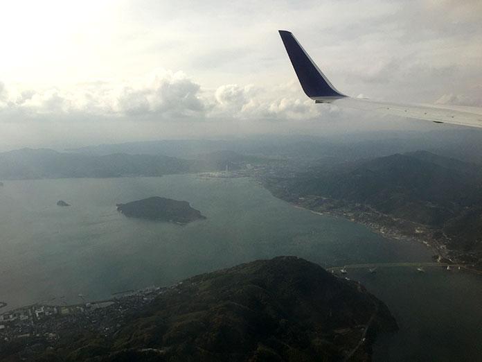 飛行機の中から眺める瀬戸内海