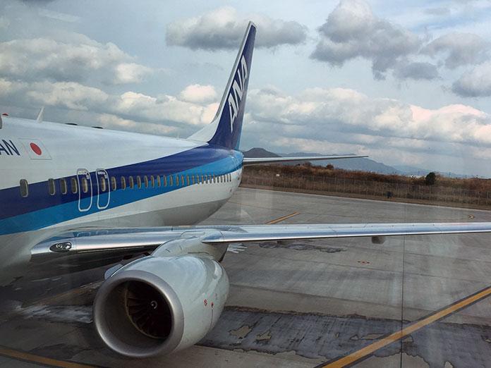 岩国空港に到着した飛行機