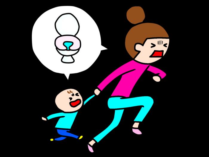 トイレを探して走るママと子ども
