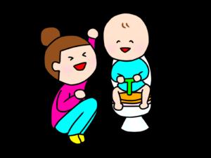 トイレをしている子どもを応援するママ