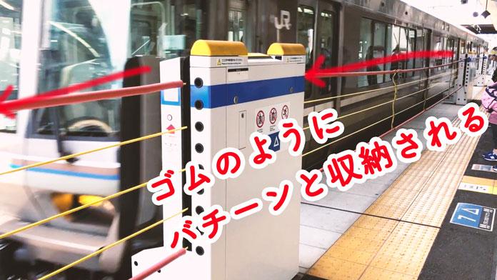 JR「高槻駅」のホームドアはゴムのようにバチーンと収納される?
