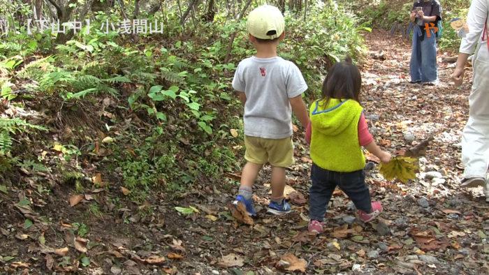 2歳と4歳、山で手をつないで歩く
