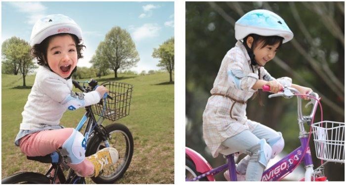キックバイクに乗る子どもと、自転車に乗る子ども