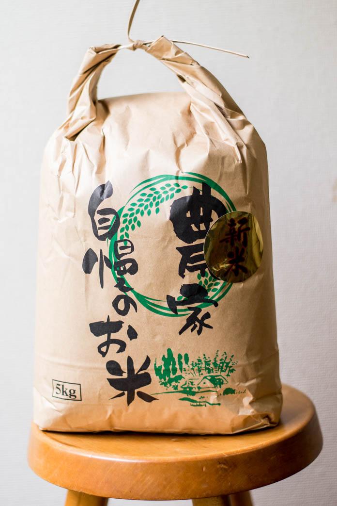 新米が入った米袋
