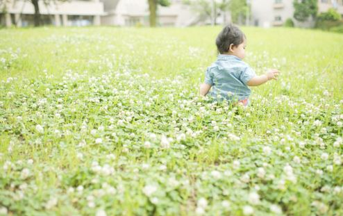 花畑にいる子ども