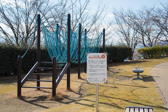 山梨県笛吹川フルーツ公園 遊具「ロープ吊り橋」