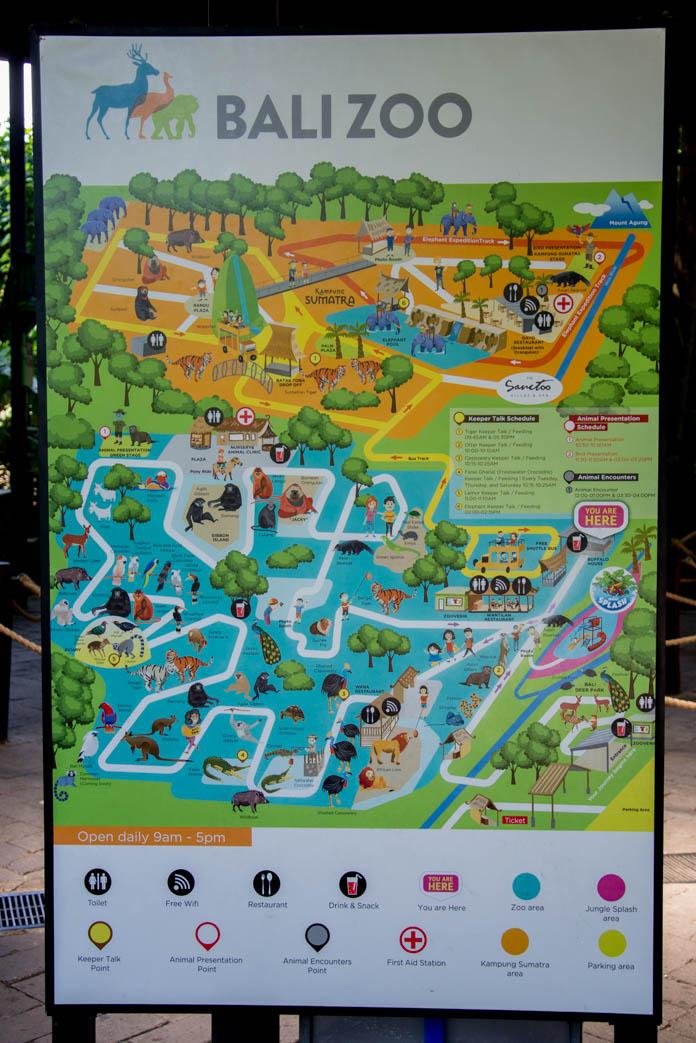 Bali Zoo(バリ動物園)園内マップ