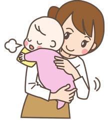赤ちゃんをトントンしているママ