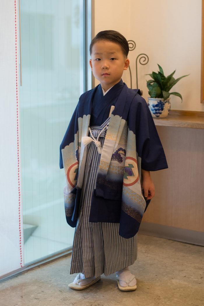 七五三の羽織袴、着付け完成