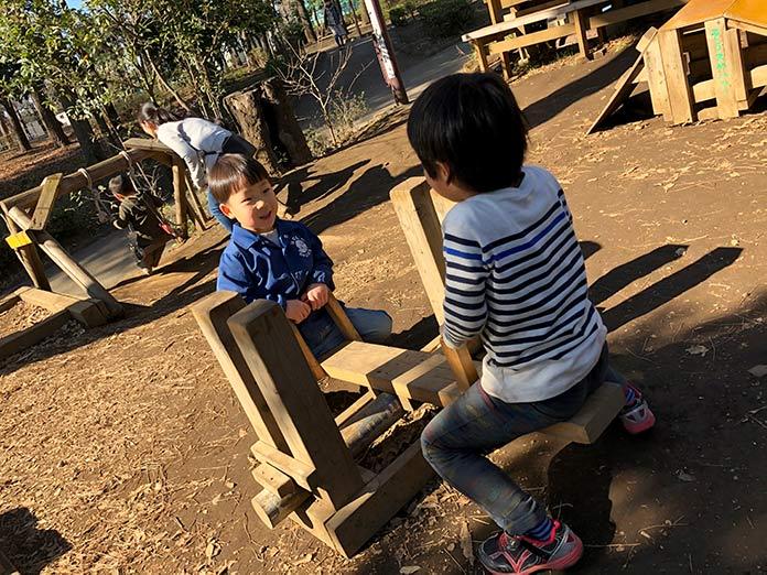木製手作りシーソー 羽根木公園プレーパーク