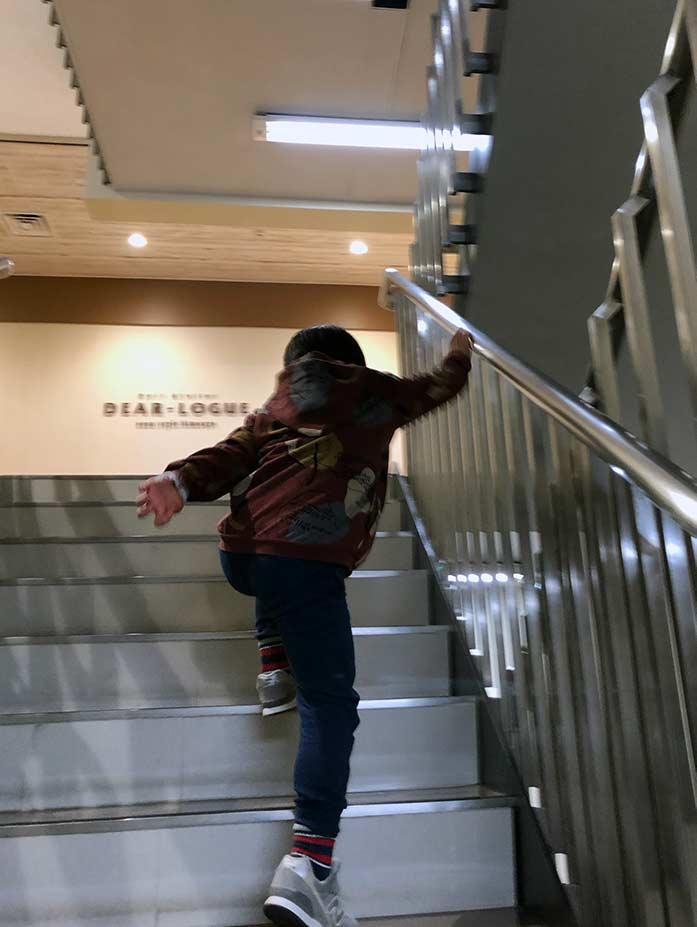 階段を駆け上る5歳の息子