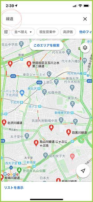 Google マップで「緑道」を検索