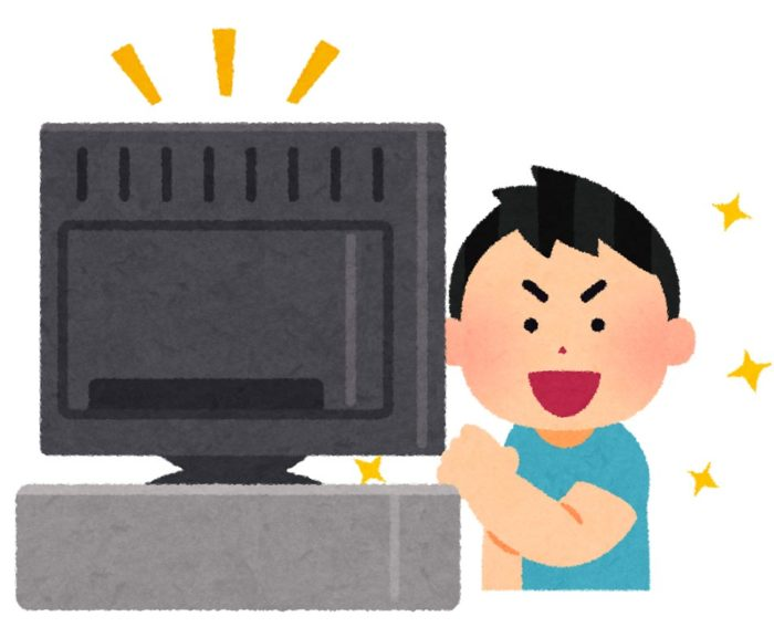 テレビを見ながら「これだ!」とガッツポーズをする男の子