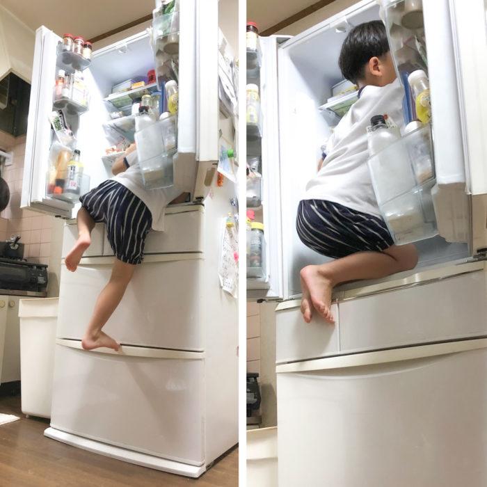 冷蔵庫に登る子ども