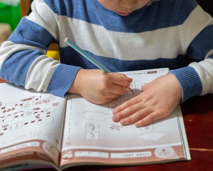 勉強する年長の息子