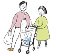 ベビーカーを押して散歩するママとパパ
