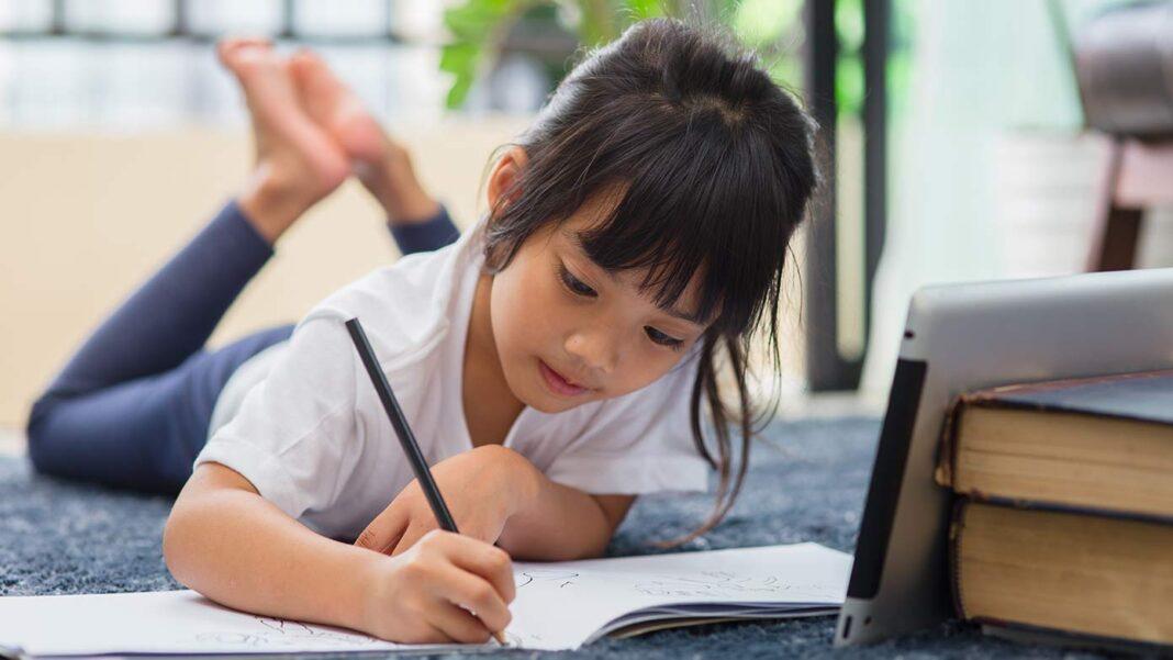 学校の宿題をするアメリカの小学生